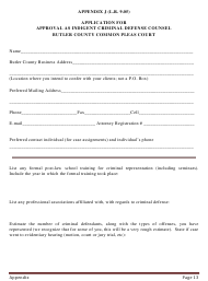 """Appendix J """"Application for Approval as Indigent Criminal Defense Counsel"""" - Butler County, Ohio"""