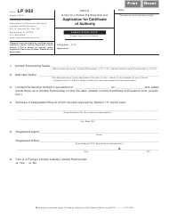 """Form LP902 """"Application for Certificate of Authority"""" - Illinois"""