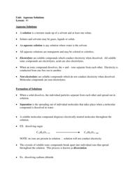 """""""Chem 20 Review Sheet - Unit: Aqueous Solutions, Lesson: #1"""""""