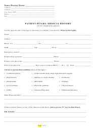"""Patient Intake: Medical History Form"""