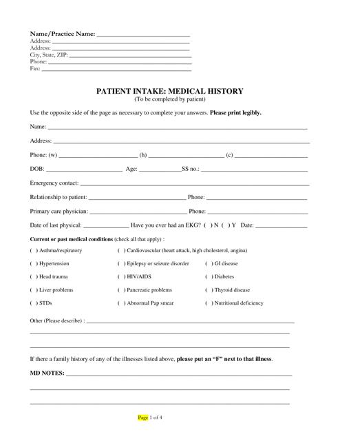 """Patient Intake: Medical History Form"" Download Pdf"