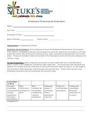 Employee Performance Evaluation Form - St. Luke's United Methodist Church