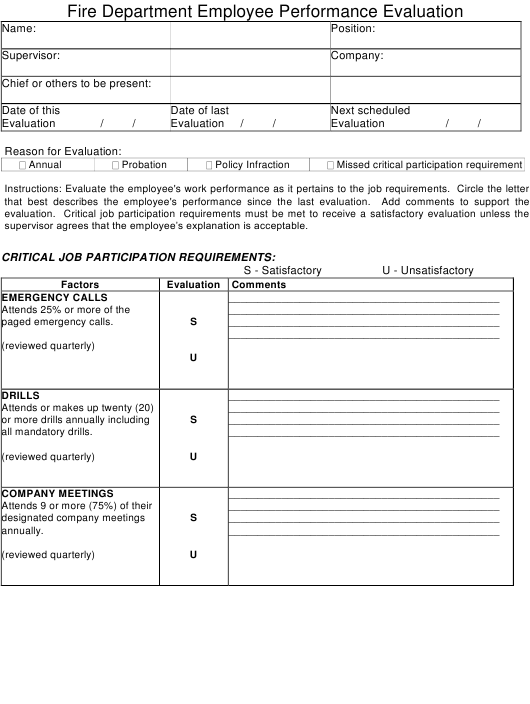 """Fire Department Employee Performance Evaluation Form"" Download Pdf"