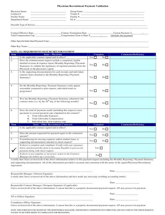 """Physician Recruitment Payment Validation Form"" Download Pdf"