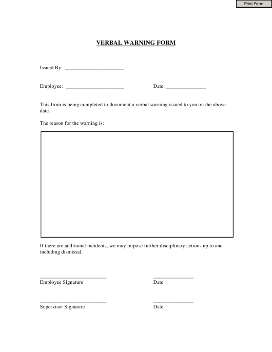 verbal warning form for employee download fillable pdf templateroller