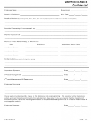 Form 153067 Written Warning Form - Paychex