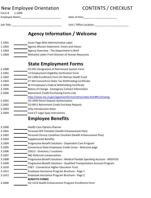 """New Employee Orientation Checklist Template"" Download Pdf"