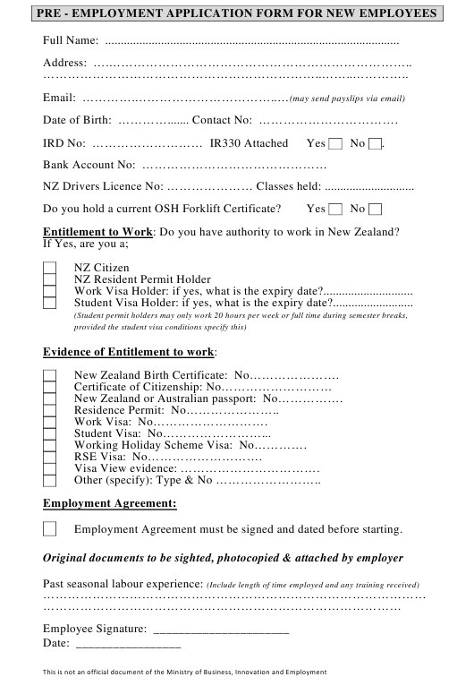 """Pre-employment Application Form for New Employees Template"" Download Pdf"