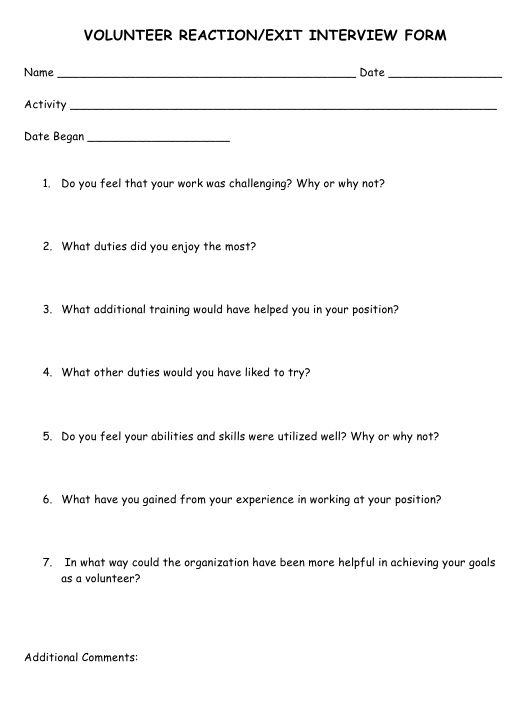 """Volunteer Reaction/Exit Interview Form"" Download Pdf"