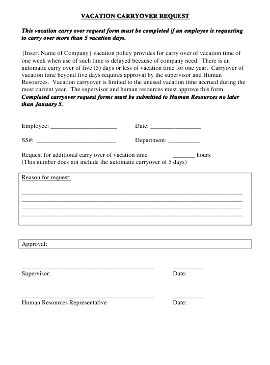 Vacation Carryover Request Form Download Pdf