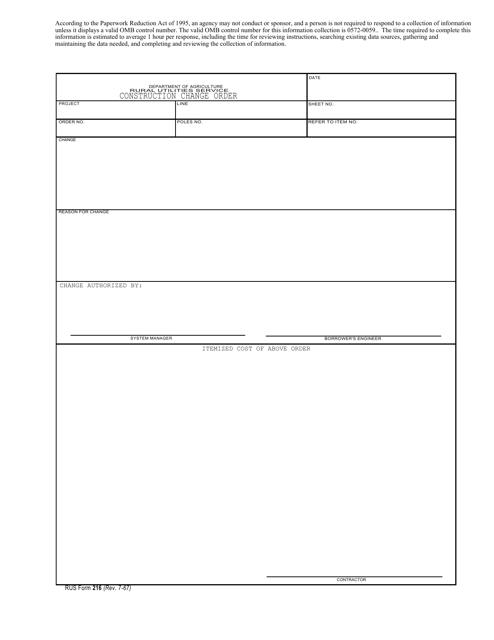 RUS Form 216  Printable Pdf