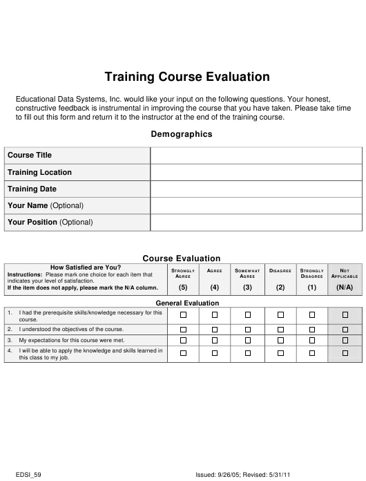 """""""Training Course Evaluation Form - Educational Data Systems"""" Download Pdf"""