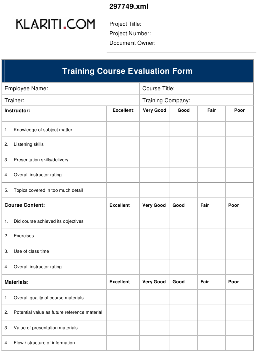 Training Course Evaluation Form Download Pdf