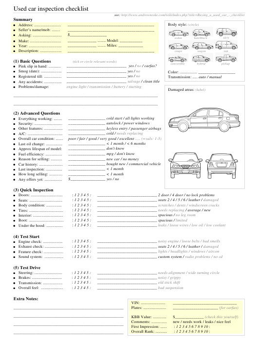 """""""Used Car Inspection Checklist Template"""" Download Pdf"""