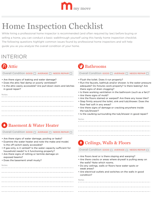 """""""Home Inspection Checklist Template - My Move"""" Download Pdf"""
