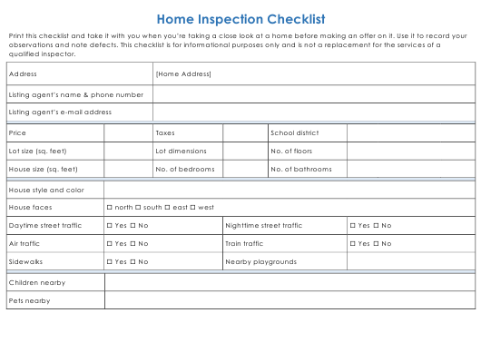 """Home Inspection Checklist Template"" Download Pdf"