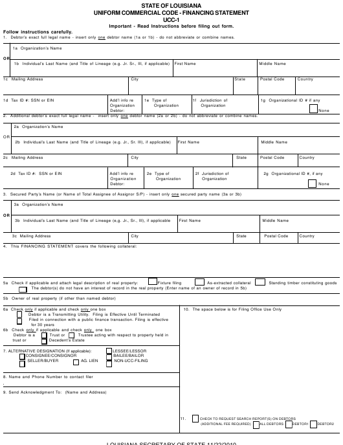 Form UCC-1  Printable Pdf
