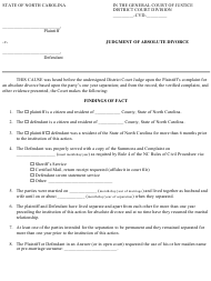 Judgment of Absolute Divorce Form - North Carolina