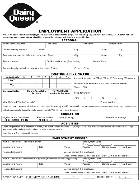 """Employment Application Form - Dairy Queen"" Download Pdf"
