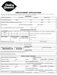 Employment Application Form - Dairy Queen