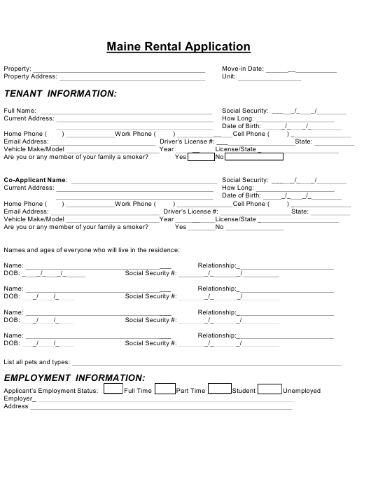 Rental Application Form Maine Download Fillable PDF
