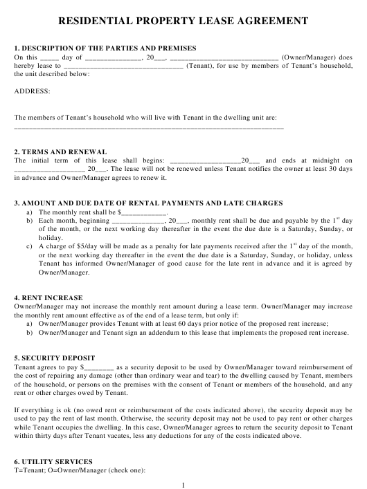 Residential Property Lease Agreement Template Download