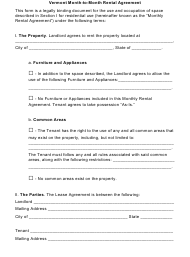 """Month-To-Month Rental Agreement Template"" - Vermont"