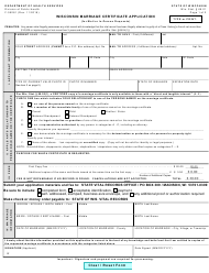 "Form F-05281 ""Wisconsin Marriage Certificate Application"" - Wisconsin"
