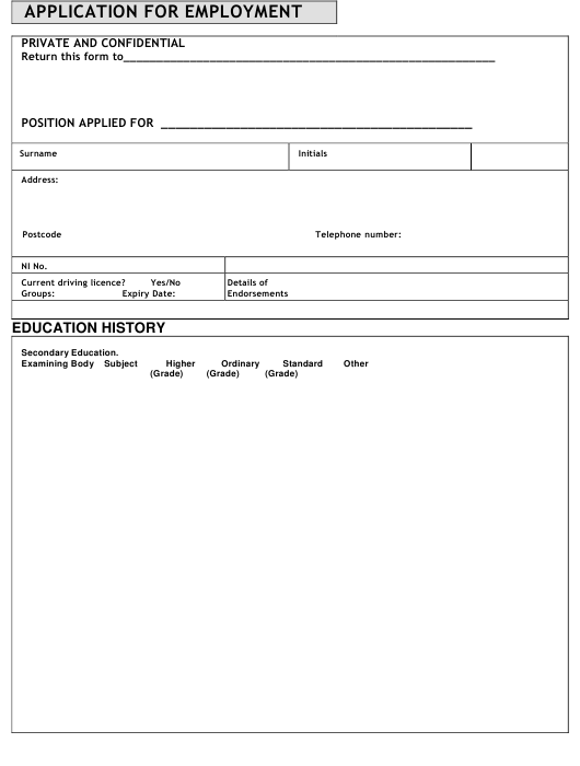 """Employment Application Form"" Download Pdf"