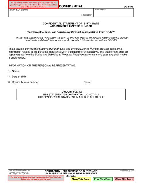 Form DE-147S  Printable Pdf