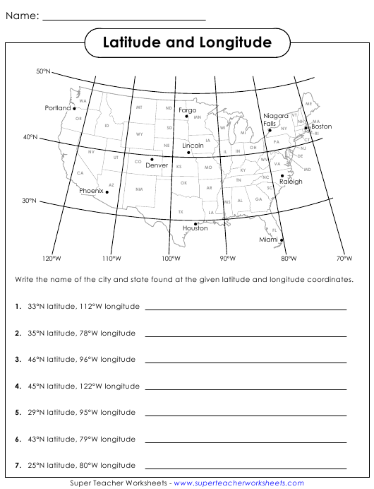 Latitude And Longitude Worksheet With Answers Download Printable Pdf