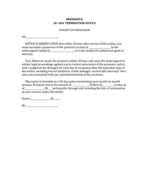 30-day Termination Notice Form - Minnesota Download Pdf