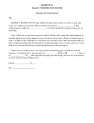 30-day Termination Notice Form - Minnesota