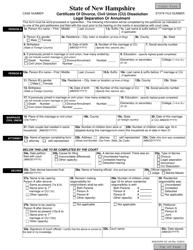 Form SOS/DVRA VS 14A Certificate of Divorce, Civil Union (Cu) Dissolution Legal Separation or Annulment Form - New Hampshire
