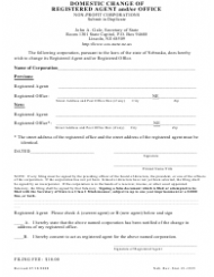 Domestic Change of Registered Agent and/Or Office Form - Nebraska