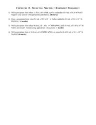 Chemistry 12 - Predicting Precipitate Formation Worksheet