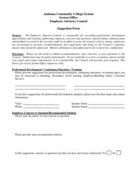 """Suggestion Form - Alabama Community College System"""