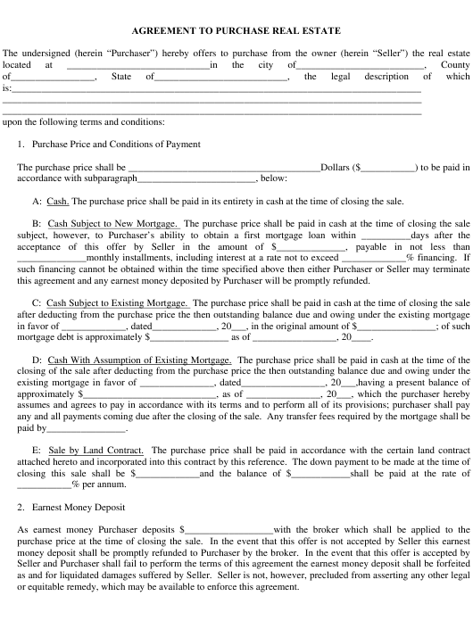 Real Estate Purchase Agreement Template Download Fillable