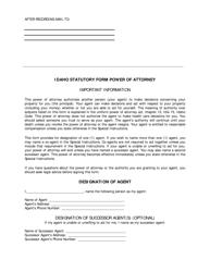 Statutory Form Power of Attorney - Idaho