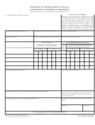 """Form SF813 """"Verification of a Military Retiree's Service in Nonwartime Campaigns or Expeditions"""""""