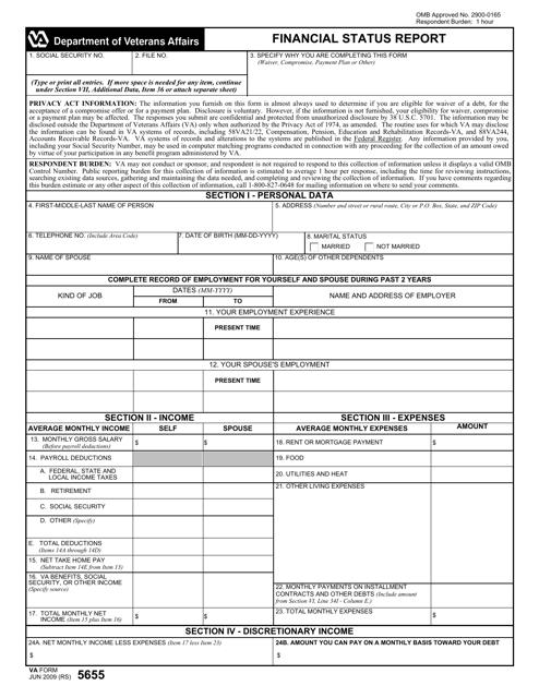 VA Form 5655  Fillable Pdf