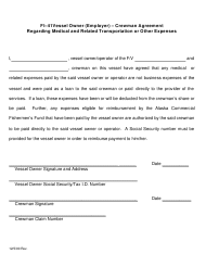 "Form FI-41 ""Vessel Owner (Employer) - Crewman Agreement Regarding Medical and Related Transportation or Other Expenses"" - Alaska"