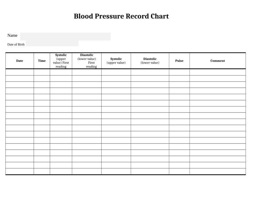 """Blood Pressure Record Chart"" Download Pdf"
