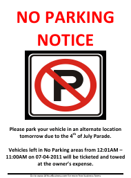 """""""4th of July No Parking Sign Template"""""""
