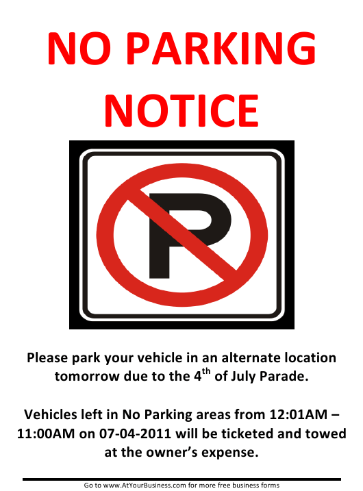 """""""4th of July No Parking Sign Template"""" Download Pdf"""