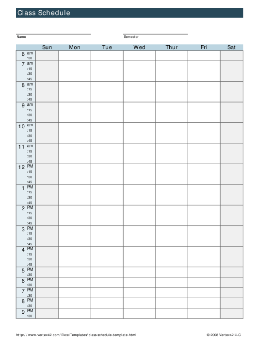 """Weekly Class Schedule Template"" Download Pdf"