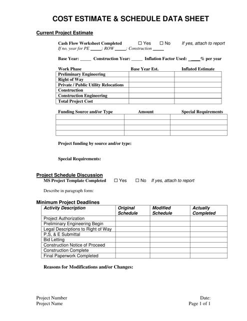 """Cost Estimate & Schedule Data Sheet Template"" Download Pdf"