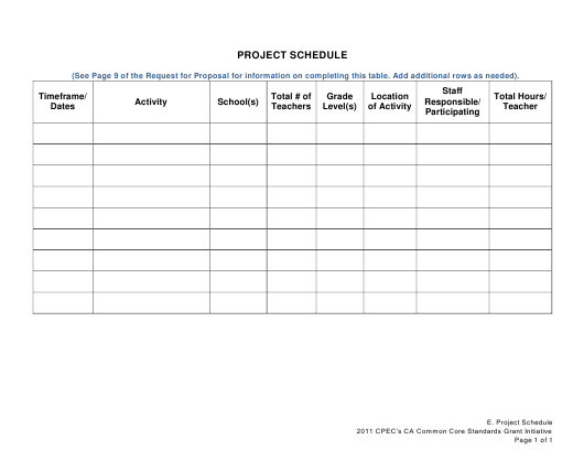 """Project Schedule Template"" Download Pdf"