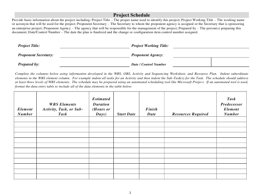 """""""Project Schedule Template"""" Download Pdf"""