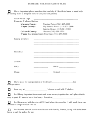 Domestic Violence Safety Plan Template